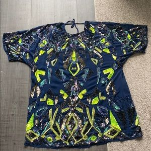Navy blue and neon green sequin shift dress.